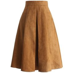 Chicwish Eyelet Full A-line Suede Skirt in Tan ($45) ❤ liked on Polyvore featuring skirts, brown, knee length a line skirt, brown suede skirt, brown polka dot skirt, tan skirt and suede a line skirt