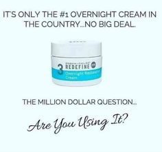 Rodan + Fields Overnight Restorative Cream is a ultra hydrating cream that replenishes skins natural moisturizing factors while you sleep for skin that looks visibly firmer and less lines in the morning. 60 day money back guarantee. Message me on pinterest @ R+Fskincare101.
