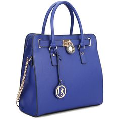 Dasein Bkue Lock Tote (2.410 RUB) ❤ liked on Polyvore featuring bags, handbags, tote bags, faux leather purses, faux leather handbags, zippered tote bag, blue tote and chain strap purse