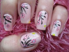 flower nail art, Long nails, Manicure by summer dress, Nails for spring dress, Pink dress nails, Pink nails with patterns, Plain nails, Spring nail designs