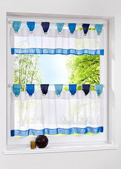 Uphome 1pcs Cute Stitching Color White Cafe Window Tier Curtain   Kitchen  Tab Top Semi Sheer