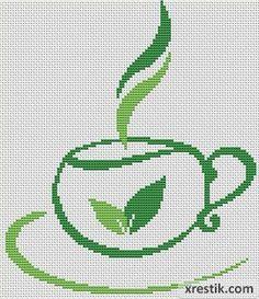 Чай №4 Еда и напитки Монохром  Схема для вышивки scheme for cross stitch