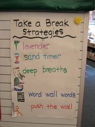 This teacher and her class brainstormed ways they could calm themselves down or refocus while in take a break or time-out! (Thanks to Kate Foley and Maria Rincon for sharing.)