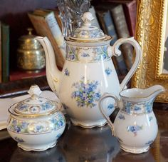 "Vintage Bavaria Schumann petite tea service set in the charming ""Forget Me Not"" pattern. This beautiful set includes the teapot, creamer, and sugar bowl with lid - made circa 1950's. Details: - The te"