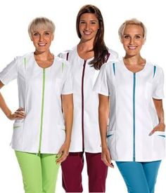 Blouse médicale courte pour femme, Fermeture à glissière couleur