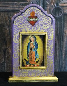 Hand Painted & Carved Wood Niche Virgin of Guadalupe, Michoacán Mexico, Folk Art