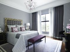 Love the grey curtains with white trim. gray and purple bedroom contemporary bedroom