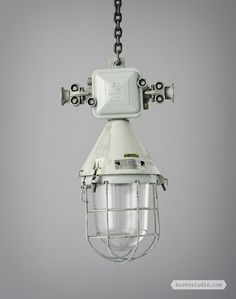 DOWNTOWN WORKSHOP EXPLOSION PROOF LIGHTS WITH JUNCTION BOX: These lamps were manufactured around 1950 and were obtained downtown Budapest workshop.