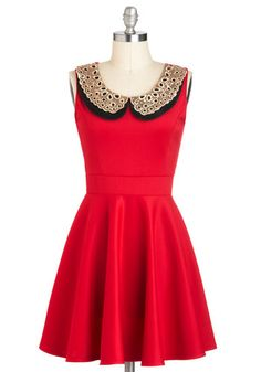 Peter pan collar, fit & flare. Love!   Two Happy Hearts Dress in Red, #ModCloth