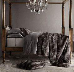 RH Modern's Exotic Faux Fur Oversized Bed Throw - Russian Black Mink:Our exotic faux fur blanket captures the wild beauty of genuine fur with its lush, long-hair finish. Expert weaving and coloring techniques re-create the subtly variegated tones and tipped ends characteristic of natural pelts, complemented by a thick, luxuriously deep pile.