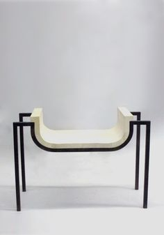 Parchment Bench in the Style of Marc Duplantier. 1stdibs
