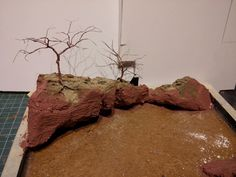 Wire tree and rocks for river diorama