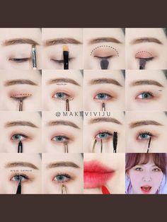 Redvelvet Make-up - Fashion outfits - Hautpflege Korean Makeup Look, Korean Makeup Tips, Asian Eye Makeup, Korean Makeup Tutorials, Smokey Eye Makeup, Asian Makeup Products, Beauty Products, Kiss Makeup, Makeup Eyeshadow