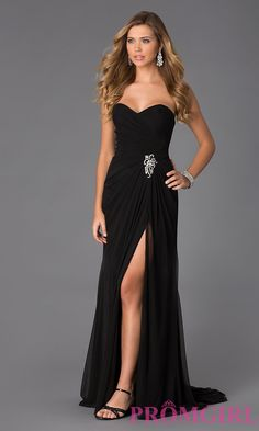 Image of Alyce Strapless Side Slit Jersey Gown Style: AL-35718 Front Image