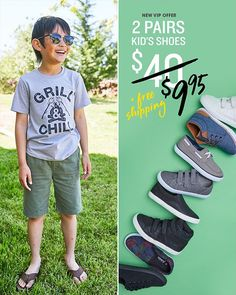 Get back to school cool with FabKids! Limited time only, get 2 pairs of shoes for only $9.95 TODAY with free shipping & free exchanges. Become a FabKids VIP Member today to get more great deals. See site for select styles.