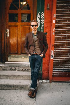 April 2, 2015.Blazer: Topman - $60 (similar, 2, 3)Vest: Ludlow Herringbone Wool - J. Crew - $73.50 (similar)Shirt: Overdye Green Tea Floral Shirt - J. Crew - $15Jeans: Levi's 511 in Rigid Dragon - Nordstrom - $50Boots: Dario Wingtip - Vince Camuto - Nordstrom - $105Pocket Square: PP344 - The Tie Bar - $8Sunglasses: Ray Ban Clubmaster - $87 (cheaper)Watch: Stillwell in Chocolate - Jack Spade (c/o)