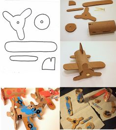 FREE DIY 3D biplane made from loo roll (cardboard tubes)! free tutorial and template. Airplane aeroplane flying ace decoration gift party activity toy recycling planes