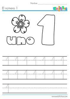 Ficha educativa con dibujo para colorear y actividades para aprender el número 1. Aprender a escribir los números. Fichas infantiles de ejercicios.