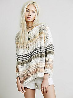 Free People Awash in Stripes Pullover at Free People Clothing Boutique Knitwear Fashion, Knit Fashion, Free People Clothing, Urban Outfitters Sweaters, Summer Knitting, How To Purl Knit, Crochet Clothes, Knit Crochet, Sweaters For Women