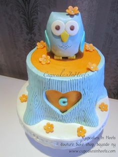 Owl cake for client's baby shower! We replicated the edible owl based on client's party decors.