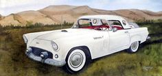 by Orphie Barella, '56 T.Bird Oil Painting, for sale on ebay