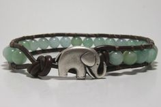 Light Blue Beaded Wrap Bracelet, Leather Wrap Bracelet. Good Luck Elephant.