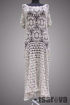Crochet dress Izabel. Beige day or special occasion organic