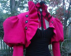 Effie inspired Neo-Victorian Games costume bolero jacket and choker magenta pink puff sleeve ruffles Victorian Games, Neo Victorian, Victorian Fashion, Victorian Steampunk, Divergent Outfits, Divergent Clothes, Effie Trinket Costume, Hunger Games Costume, Futuristic Costume