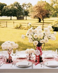 simple carnation centerpieces