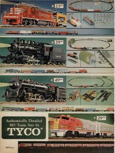 Tyco Electric HO Train Sets from a 1970 catalog #vintage #1970s #toys Tyco trains are generally unrepairable and are not worth the trouble.  They were cheaply made for play.