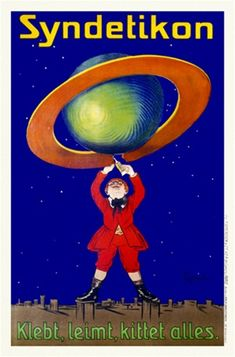 Syndetikon Glue by Cappiello 1905 Germany - Beautiful Vintage Poster Reproductions. This vertical german poster advertising glue features a boy fixing a broken ring around a globe against a starry sky. Giclee advertising print. Classic Posters
