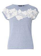 Womens Blue Stripe Lace T-Shirt- Blue