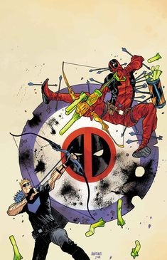 "Cover of ""Hawkeye vs Deadpool"", coming in October. Deadpool has a Derp gun...perfect."
