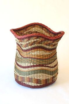 Pat Jeffers | 'Eddies of Opening'. Hand-dyed reed and seagrass cord - if I ever do basket weaving