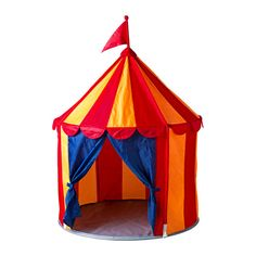 "CIRKUSTÄLT- Children's tent by IKEA: Portable, with easy assembly. Made of 100% polyester with polyester fiber fill. Measures 39 1/4"" x 47 1/4"". For children 18mos and older. $19.99 #Kids_Tent #Circus_Tent #IKEA"