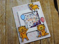 Grrrreat Day Shaker card by Alicia Havranek from the CrazyPaperChick blog Lion Love, Doodle Inspiration, Birthday Kids, Shaker Cards, Lions, Stamps, Doodles, Projects, Blog