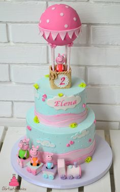Peppa pig cake Peppa Pig can be a United kingdom toddler super-hero television set collection Tortas Peppa Pig, Bolo Da Peppa Pig, Peppa Pig Birthday Cake, Birthday Cake Girls, Peppa Pig Cakes, 4th Birthday, Gateau Harry Potter, Hot Air Balloon Cake, Pig Party