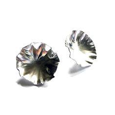 Sterling silver round leaf earrings by eko jewelry design, Lata