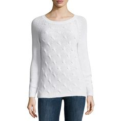 Liz Claiborne Long Sleeve Crew Neck Pullover Sweater ($44) ❤ liked on Polyvore featuring tops, sweaters, white top, white sweater, liz claiborne tops, white pullover and white long sleeve sweater