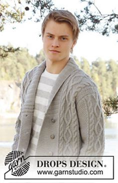Hand knitted mens collared jacket cardigan in by Knittingtopia