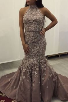 Halter Mermaid Prom Dresses Lace Embroidery Evening Gowns vp7905 by VestidosProm, $280.03 USD
