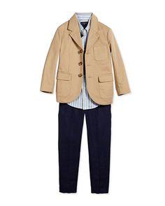 Three-Button Sport Coat, Blake Striped Oxford Shirt & Chevron-Knit Linen Preppy Shorts by Ralph Lauren Childrenswear at Neiman Marcus.