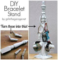 How to make a DIY bracelet storage stand with some unexpected supplies! girlinthegarage.net