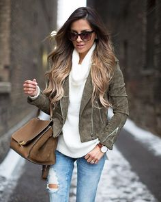 Nice twist of color/texture for this style jacket // Army green suede? Yes please!!