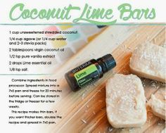Coconut Lime Bars made with doTERRA essential oil. HOWEVER, I strongly advocate against agave syrup at any time. Use the water stevia! Cooking With Essential Oils, Lime Essential Oil, Doterra Essential Oils, Elixir Floral, Doterra Recipes, Cooking Recipes, Healthy Recipes, Free Recipes, Healthier Desserts