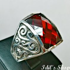 Men's Ring Turkish Ottoman Style Jewelry 925 Sterling by IdilsShop, $90.00