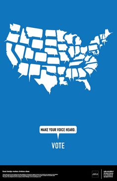AIGA Get Out the Vote Poster (Blue) by Hunter Langston