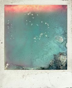 "Louis Little – Sunken Polas | Impossible Magazine ""I wanted to create something out of nothing. I took four and put them in the toaster. 'Pop-tart Polaroids' I called them. They were a little bit of fun. The heat from the toaster distorted the primary layer of the film. Sometimes it burnt right through, creating a variety of textures. It often bubbled which distorted the under-image...I then tried the complete opposite and submerged some more rejects in water."""