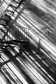 Fire Escape and Shadow. Shadow Art, Shadow Play, Black White Photos, Black And White Photography, Labo Photo, Street Photography, Art Photography, Shadow Photography, Landscape Photography