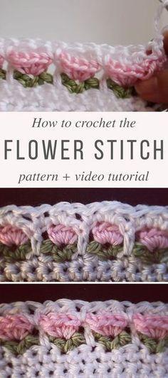 Flower Stitch crochet pattern and video tutorial . Flower Stitch crochet pattern and video tutorial Beau Crochet, Stitch Crochet, Crochet Motifs, Crochet Borders, Crochet Stitches Patterns, Crochet Designs, Crochet Baby, Stitch Patterns, Knitting Patterns